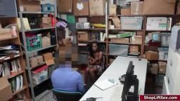 Ebony shoplifter sucks Officers cock