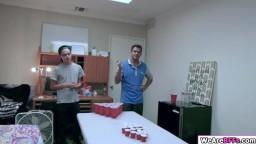 Slut bffs plays beer pong and get fucked