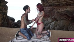 Tattooed redhead fuck by bf in the cave