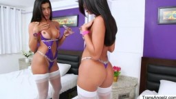 Gorgeous brunette TS Thaissa have butt sex with Christian