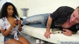 Ebony stepdaughter sucks stepdads dick